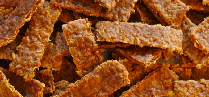 Baked meat strips